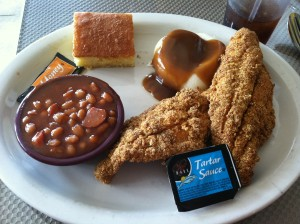 Fried Catfish, baked beans, mashed potatoes, and cornbread.