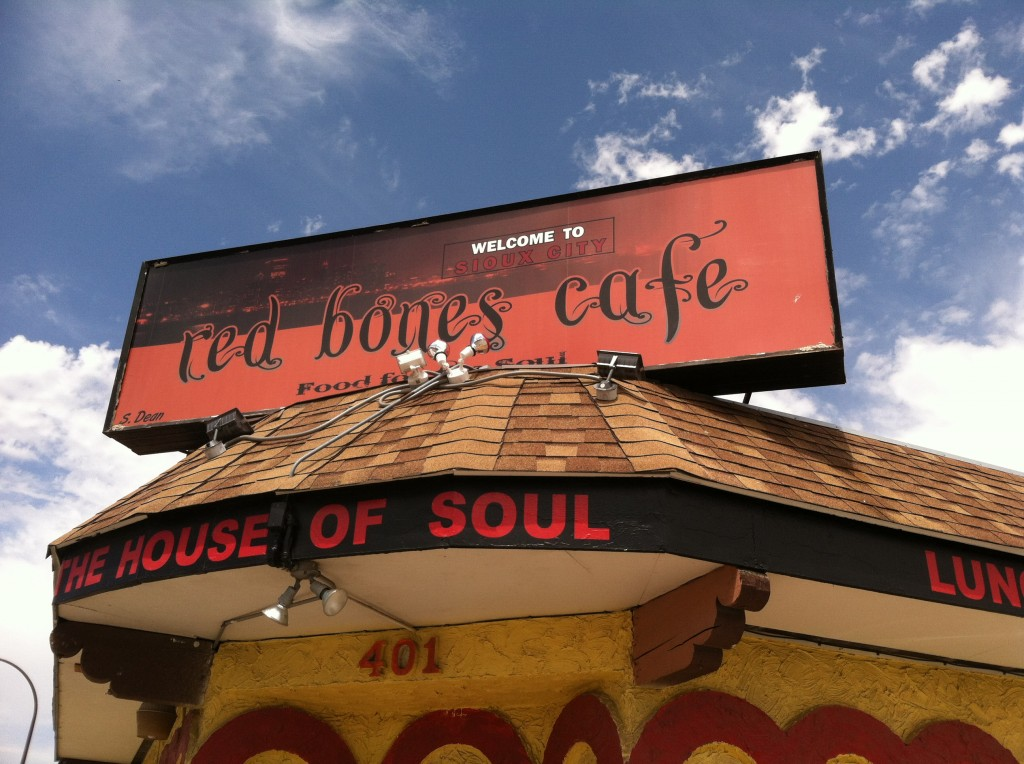 Signage above the door at the Red Bone Cafe
