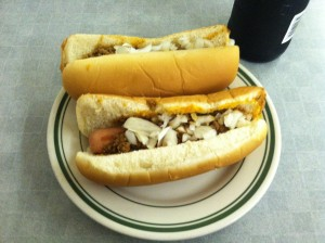 Two hot dogs with everything at Milwaukee