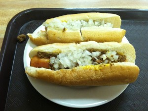 Two hot dogs with everything at Coney Island