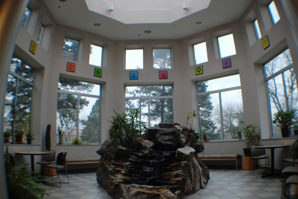 "(Atrium, Science Center at Morningside College) Upon asking many students who attend classes in the Science Center where there favorite place to study was, many replied ""the Atrium."" And with that tranquil waterfall and beautiful view, I think everyone can see why it is a majority favorite."