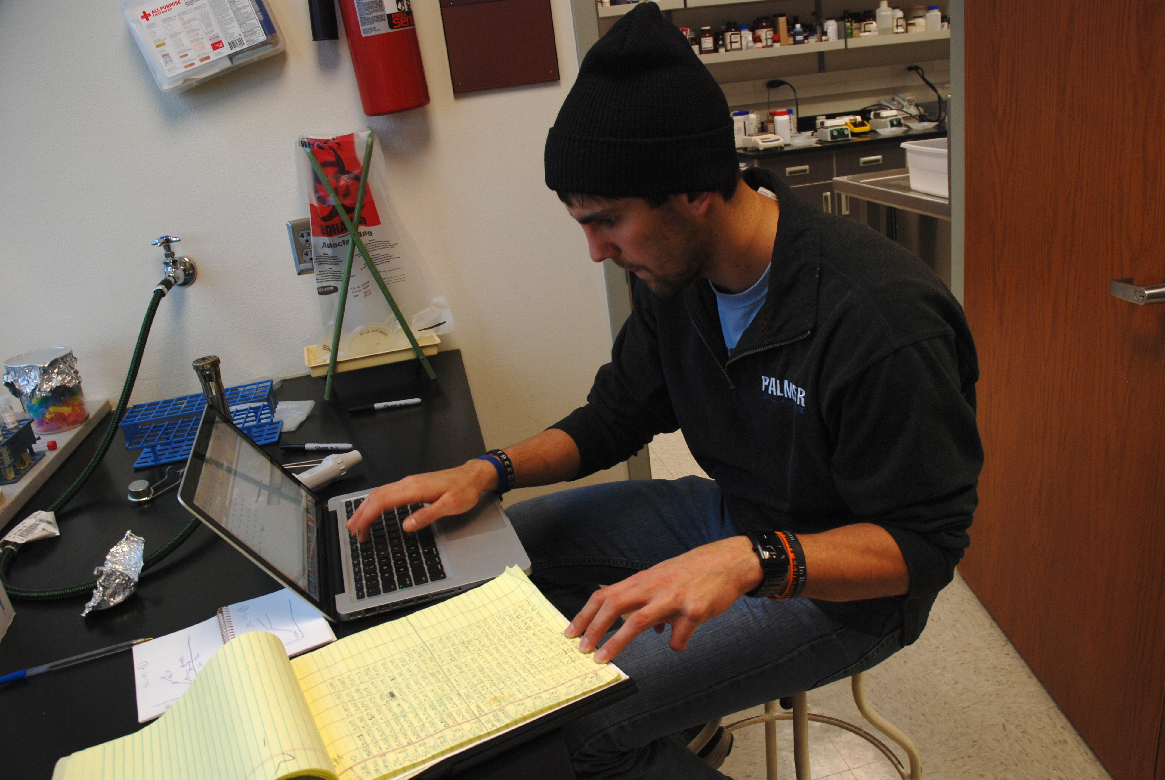 Drees spends between 15-20 hours a week in the lab outside of class time doing independent research.