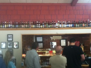Here's the view from the order window with the different types of beer above.
