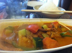 My meal: Duck, green peppers, tomatoes, and pineapple simmered in red curry.
