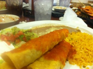 Steak flautas with beans and rice