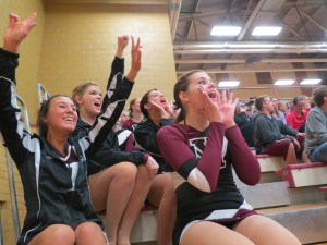 Morningside College dance team cheers on the men's basketball team last night.