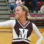 "Kelsie Pomerenke loves to cheer on Morningside athletic teams. Pomerenke said, ""I love the feeling when we are about to win a game and the crowd is roaring."""