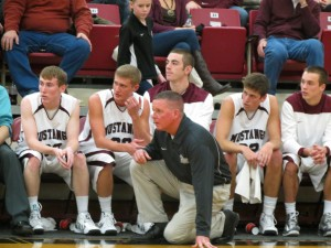 Head coach Jim Sykes in his element at last night's game against Dakota Wesleyan.