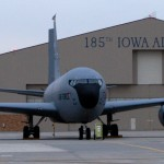 "A KC-135r parked in front of a hangar at the 185th Air Refueling Wing Base. ""I know this plane like the back of my hand,"" said Snyder."