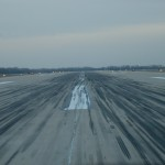Snyder's view from the city truck while patrolling the runway at Sioux Gateway Airport