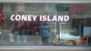 Coney Island with some handsome fellow in the reflection
