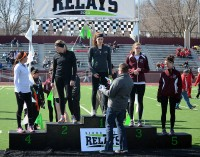 Breanna Mathes, McKenzie Reece, Jen Petsche and Hailee Heitkamp receive their medals.