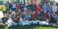 Soccer volunteers clean up campus