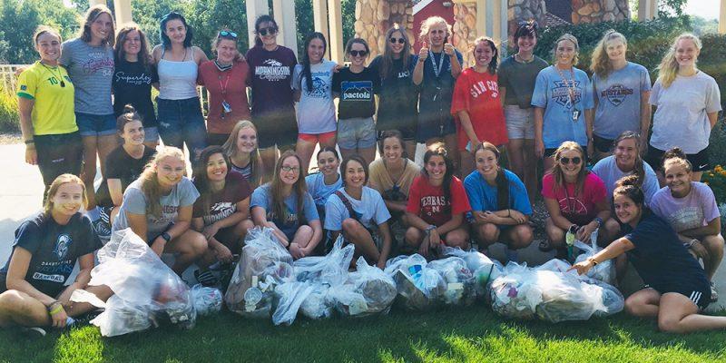 Soccer volunteers clean up campus